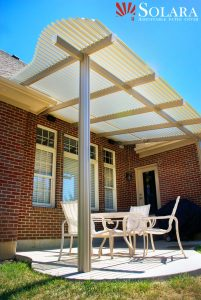 Solara's custom made adjustable patio cover.