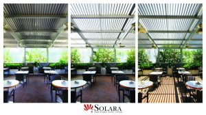 Enhance the outdoor space of your restaurant with a Solara Patio Cover
